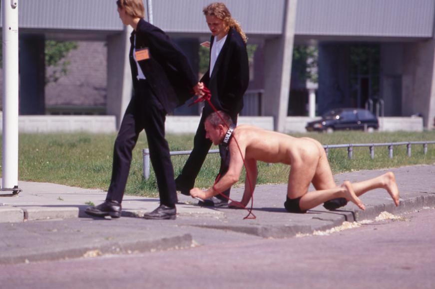 Manifesta 1, Rotterdam, 1996, Oleg Kulik, Pavlov's Dog.  Photo © Manifesta 1